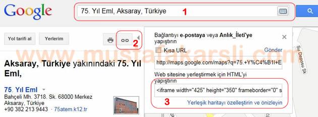 Google Haritası Ekleme
