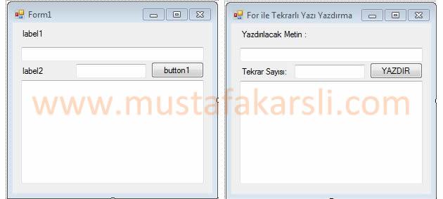 For tekrarlı yazı form ekranı