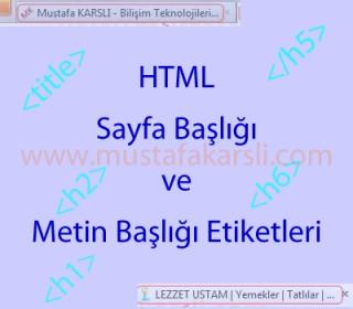 Html de Sayfa Başlığı ve Başlık Etiketleri