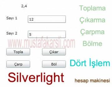 Silverlight  ile Dört İşlem Yapan Web Sayfası