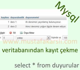Mysql Veritabanından Kayıt Çekme