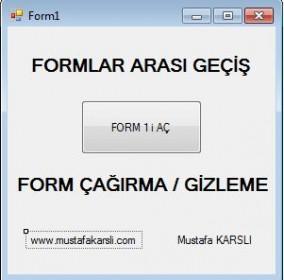 Buton ile Formlar Arası Geçiş - Form Çağırma