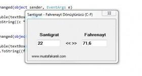 Santigrat - Fahrenayt Dönüştürücü (C#.NET)