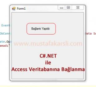 C#.NET ile Access Veritabanına Bağlantı Kurma